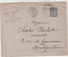 """CRETE : 25 Cts . TYPE MOUCHON . DE """" LA CANEE """" . POUR MONTPELLIER . 1908 . - Kreta (1902-1903)"""