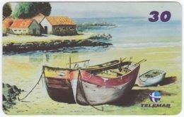 BRASIL I-644 Magnetic Telemar - Painting, Traffic, Boat - Used - Brésil