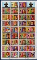= Bloc 34 Timbres Oblitérés Ajman, état Et Ses Dépendances, Rois Et Reine De France, Henri Louis Et Les Autres - Familles Royales