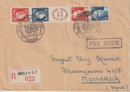France Centenaire Du Timbre Poste 1949 Rouen 833A Sur Lettre Recommandée Pour Le Maroc - Gedenkstempel
