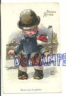 Bonne Année. Les Gosses De Little Pitche. Petit Garçon, Roses, Poches Vides, ... 1923. Fantaisie Trichromes NOYER - Illustrateurs & Photographes