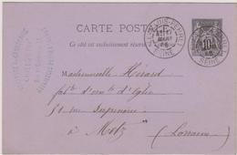 LEVALLOIS-PERRET 1886 - Daguin - Marcophilie (Lettres)