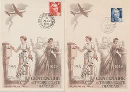 France Centenaire Du Timbre Poste 1949 Paris 830 à 833 Sur 4 Cartes - Gedenkstempel