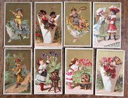 8 Cartons Publicitaires CHOCOLAT GUERIN-BOUTRON : Les Enfants Et Les Fleurs - Chocolate