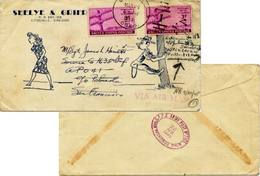 3c Telegraph (2) 1945 Coquille, Oreg. Double Weight To A.P.O. 41 Forwarded By S.F.P.E Army Post Office To Portland... - Stati Uniti