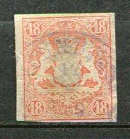 BAV -  Yv.,n° 22 Mi. N° 19   (o)   18k  Vermillon Cote 220 Euro  D 2 Scans - Bavière