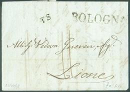 LAC De BOLOGNA (griffe) Du 26/09/1838 + Griffes TS  Vers Lyon  - 14327 - Romagne