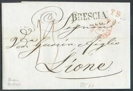 LAC De BRESCIA (griffe) Du 4/07/1847 + Griffes TS  Vers Lyon  - 14328 - Lombardo-Vénétie