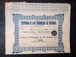 Lot 16 Compania LAS CARBONERAS-ASTURIAS San Sebastian 1907 + Coupons - Azioni & Titoli