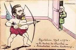 CPA Peinte à La Main Caricature Satirique Politique JAURES / CLEMENCEAU Tir à L' Arc Illustrateur ORENS (2 Scans) - Personnages