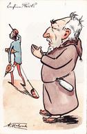 CPA Peinte à La Main Caricature Satirique Politique Moine COMBES / Général ANDRE Illustrateur  A. MOLYNK (2 Scans) - Personnages