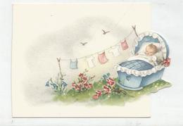 Carte De Vœux De Naissance Découpée. Bébé Dans Son Berceau Au Jardin. Linge à Sécher. - Andere