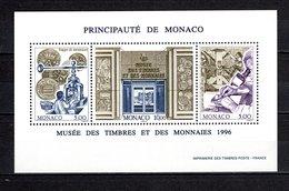 MONACO BLOC N° 73  NEUF SANS CHARNIERE COTE 10.25€   MUSEE TIMBRE ET MONNAIE - Blocks & Sheetlets
