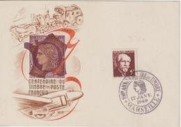 France Centenaire Du Timbre Poste 1949 Marseille Carte Pour Le Maroc - Postmark Collection (Covers)