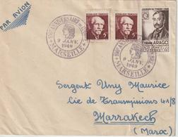 France Centenaire Du Timbre Poste 1949 Marseille Lettre Pour Le Maroc - Storia Postale