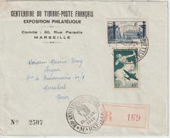 France Centenaire Du Timbre Poste 1949 Marseille Lettre Recommandée Pour Le Maroc - Gedenkstempel