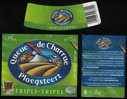 Belgique Lot 3 Étiquettes Bière Beer Labels Queue De Charrue Triple - Birra