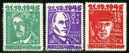 Germany, Mecklenburg-Vorpommern. Scott #12NB1-12NB3. Semi-Postals. Unused. * - Soviet Zone