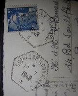 Cuirassé Lorraine 1948 Poste Navale , Cachet Hexagonal Tireté Sur Carte Postale De Cannes - Poststempel (Briefe)