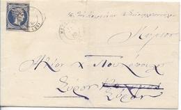 Greece EL 187? Folded Letter Fr. 20 Lepta LHH Canc. Messina To Sira - 1861-86 Large Hermes Heads
