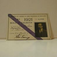 Passe - Season Ticket - Senador Nicolau Mesquita - 1921 - Companhia Dos Caminhos De Ferro Portuguezes Da Beira Alta - Week-en Maandabonnementen