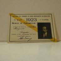 Passe - Season Ticket - Senador Nicolau Mesquita - 1923 - Companhia Dos Caminhos De Ferro Portuguezes Da Beira Alta - Week-en Maandabonnementen