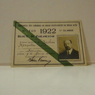 Passe - Season Ticket - Senador Nicolau Mesquita - 1922 - Companhia Dos Caminhos De Ferro Portuguezes Da Beira Alta - Europe