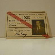 Passe - Season Ticket - Senador Nicolau Mesquita - 1925 - Cª Dos Cam. De Ferro Portuguezes Da Beira Alta -fold At Center - Week-en Maandabonnementen