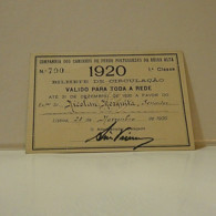 Passe - Season Ticket - Senador Nicolau Mesquita - 1920 - Cª Dos Caminhos De Ferro Portuguezes Da Beira Alta - Europe