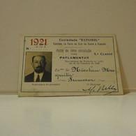 Passe - Season Ticket - Senador Nicolau Mesquita - 1921 - Caminho De Ferro De Cais Do Sodré E Cascais - Week-en Maandabonnementen