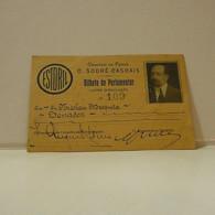 Passe - Season Ticket - Senador Nicolau Mesquita - 1925 - Caminho De Ferro De Cais Do Sodré-Cascais - Fold Top Left - Week-en Maandabonnementen
