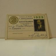 Passe - Season Ticket - Senador Nicolau Mesquita - 1923 - Caminho De Ferro C. Sodré-Cascais - Week-en Maandabonnementen