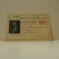 Passe - Season Ticket - Senador Nicolau Mesquita - 1922 - Caminho De Ferro De Cais Do Sodré A Cascais - Week-en Maandabonnementen