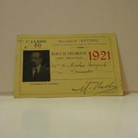 Passe - Season Ticket - Senador Nicolau Mesquita - 1921 - Caminho De Ferro De Cais Do Sodré A Cascais - Week-en Maandabonnementen