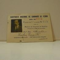 Passe - Season Ticket - Senador Nicolau Mesquita - 1925 - Companhia Nacional De Caminhos De Ferro - Hole Bottom - Week-en Maandabonnementen
