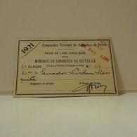 Passe - Season Ticket - Senador Nicolau Mesquita - 1921 - Companhia Nacional De Caminhos De Ferro - Week-en Maandabonnementen