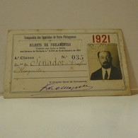 Passe - Season Ticket - Senador Nicolau Mesquita - 1921 - Companhia Dos Caminhos De Ferro Portugueses - Week-en Maandabonnementen