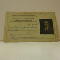 Passe - Season Ticket - Senador Nicolau Mesquita - 1920 - Companhia Dos Caminhos De Ferro Portugueses - Week-en Maandabonnementen