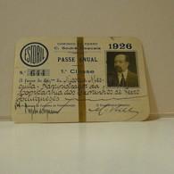 Passe - Season Ticket - Senador Nicolau Mesquita - 1926 - Caminho De Ferro C. Sodré-Cascais - Week-en Maandabonnementen