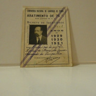 Passe - Season Ticket - Senador Nicolau Mesquita - 1929/30/31 - Compª Nacional Dos Caminhos De Ferro - Week-en Maandabonnementen