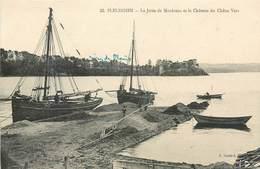 CPA 22 Côtes D'Armor Du Nord Pleudihen La Jetée De Mordreuc Et Le Chateau Du Chêne Vert Bateaux Barques - France