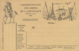 FM 52  / FRANCHISE MILITAIRE  CORRESPONDANCE DES ARMEES DE LA REPUBLIQUE CAVALERIE  1914 - Militärpostmarken