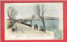 MARTIGUES 1906 VUE PRISE DE LA ROUTE DE MARSEILLE CARTE COLORISEE EN TRES BON ETAT - Martigues