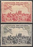 France 1943 -    Eposition Philathélique - Neuf ** -  2 Couleurs - Avion, Plane,  Notre Dame, Cathédrale - Philatelic Fairs