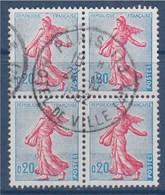 = Semeuse Lignée De Roty 20c Turquoise Bloc De 4 Oblitéré 19.10.1962 N°1233 - Gebraucht
