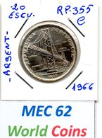 MEC 62 - / Portugal Republica / 20 Escudos 1966 / Argent  / Ponte Salasar / - RP.355.C - Portugal