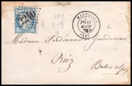 6829 Lsc Lettre Cover Bouches Du Rhone Marseille N°60 A Cérès GC 2240 Pour Riez Alpes 1875 - Postmark Collection (Covers)