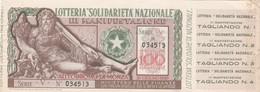 LOTTERIA SOLIDARIETA' NAZIONALE - AUTODROMO DI MONZA / Biglietto Da Lire 100 _ Estrazione 26 Giugno 1949 - Biglietti Della Lotteria