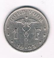 1 FRANC  1923 VL BELGIE /5112/ - 1909-1934: Albert I