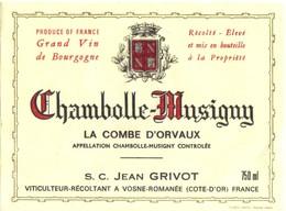 Etiquette Chambolle Musigny La Combe D'Orvaux - Grivot Jean - Vosne Romanée - Cote D'Or - 21 - Bourgogne